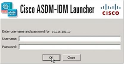 Подключение к ASAv с использованием ASDM-IDM Launcher