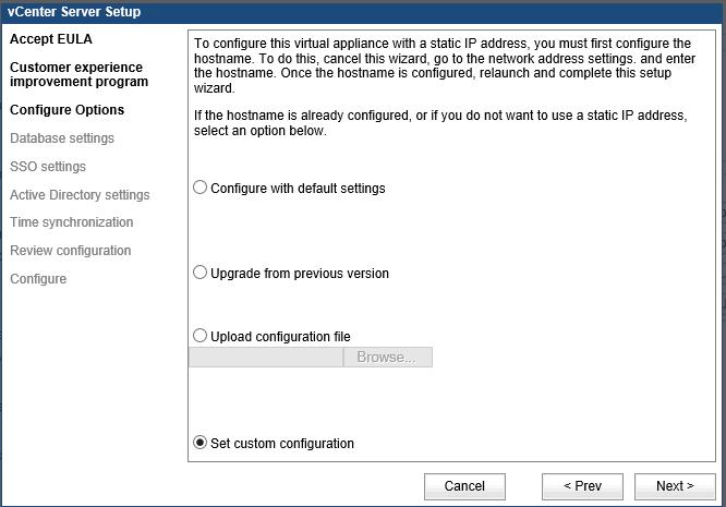Окно настройки vCenter Server Setup