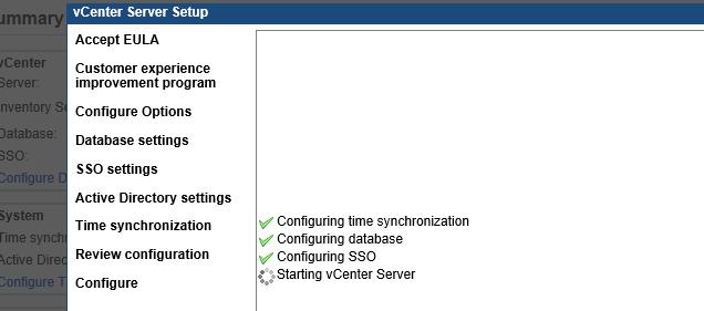 Окно мастера установки vCenter Server Setup