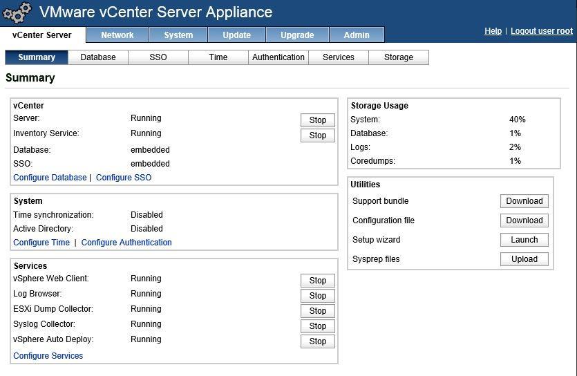 Окно управления vCenter Server Appliance