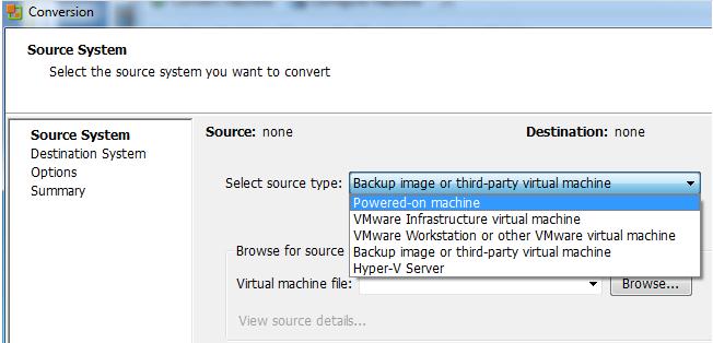 Пример работы с инструментом VMware vCenter Converter