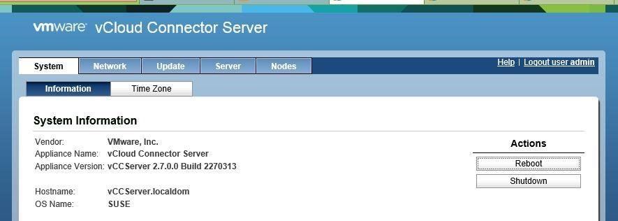 Консоль управления vCloud Connector Server