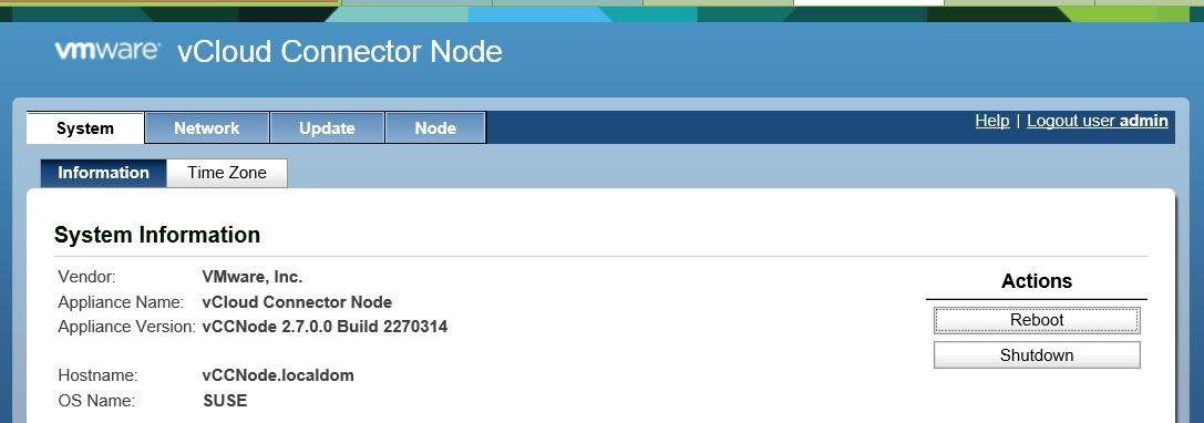 Веб-консоль управления vCloud Connector Node