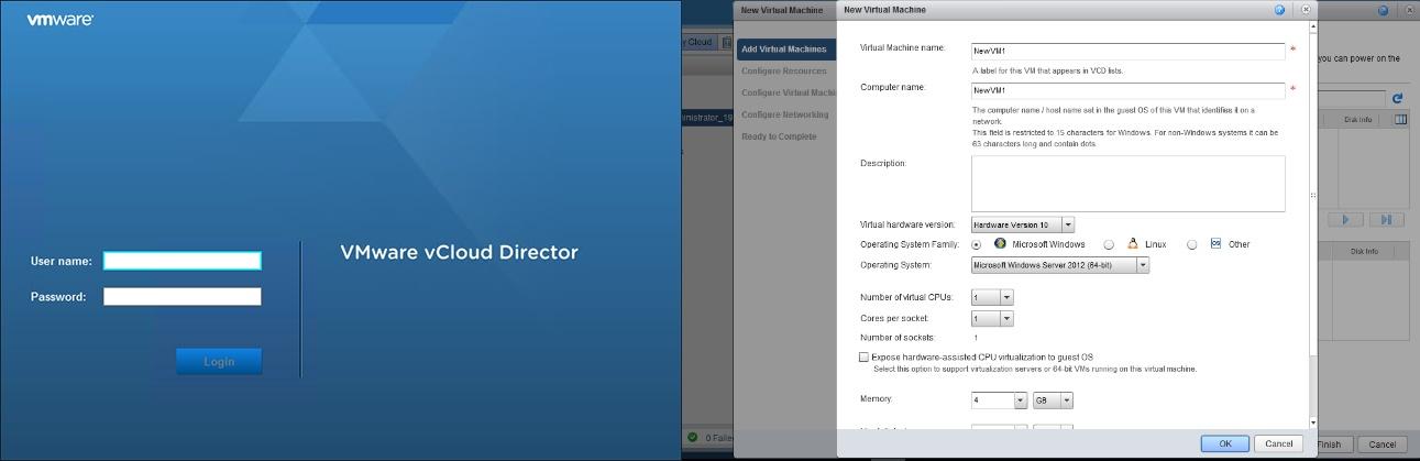При развертывании инфраструктуры в облаке на базе VMware предоставляется доступ к консоли vCloud Director