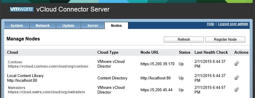 Пример зарегистрированных vCloud Connector Nodes в vCloud Connector Server