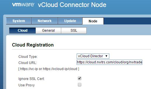 Регистрация vCloud Connector Node в облаке vCloud Director Nwtraders