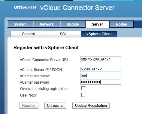Окно конфигурации vCloud Cloud Connector Server
