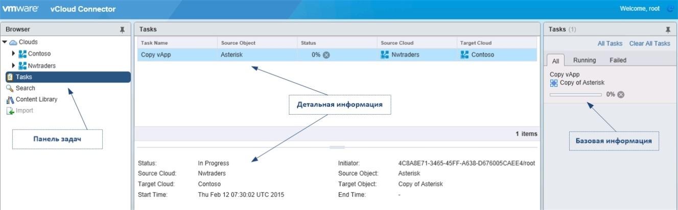 Пример отображения панели задач в vCloud Connector