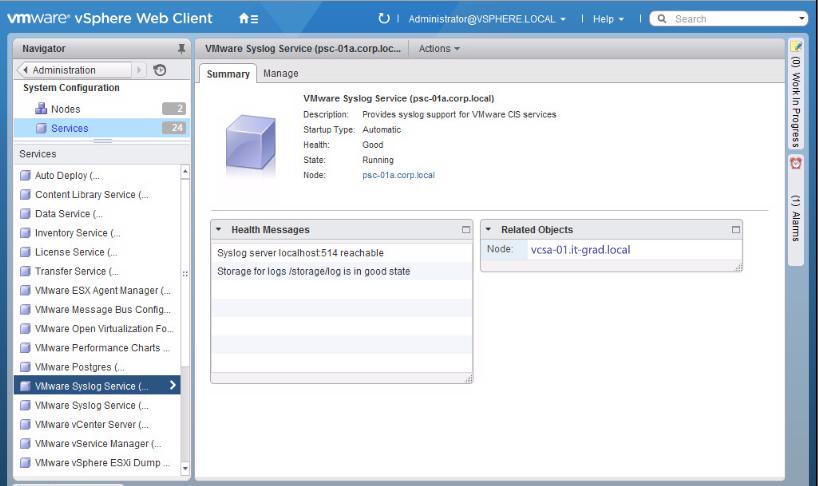 Параметры службы VMware Syslog