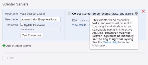 Пример справочной информации в окне vSphere Integration