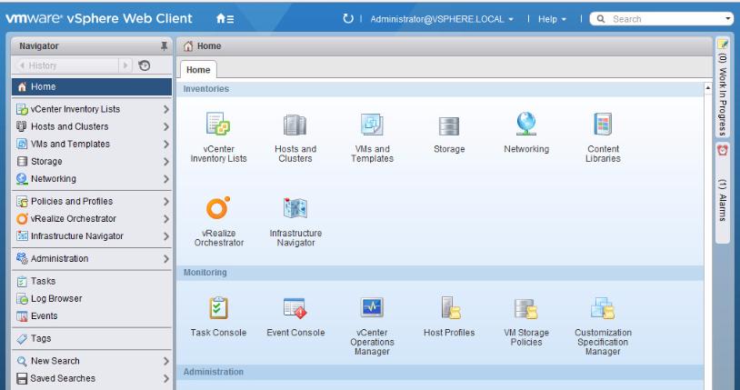 Панель управления vSphere Web Client