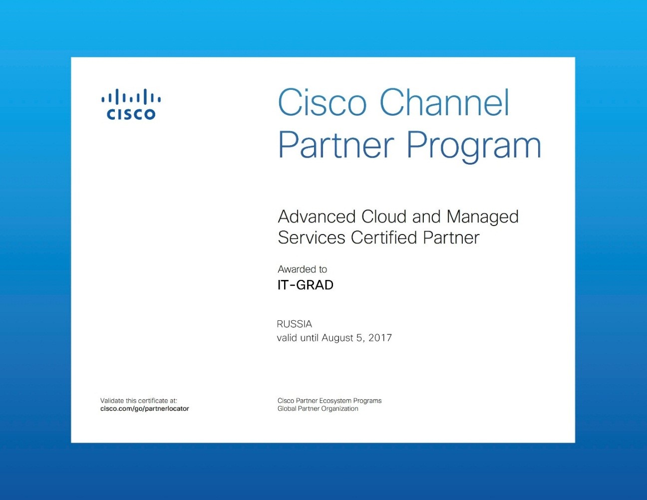 Cisco Cloud and Managed Services Advanced