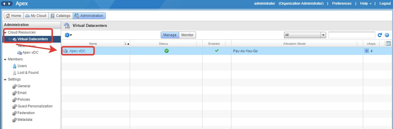 Пример подключения к виртуальному дата-центру
