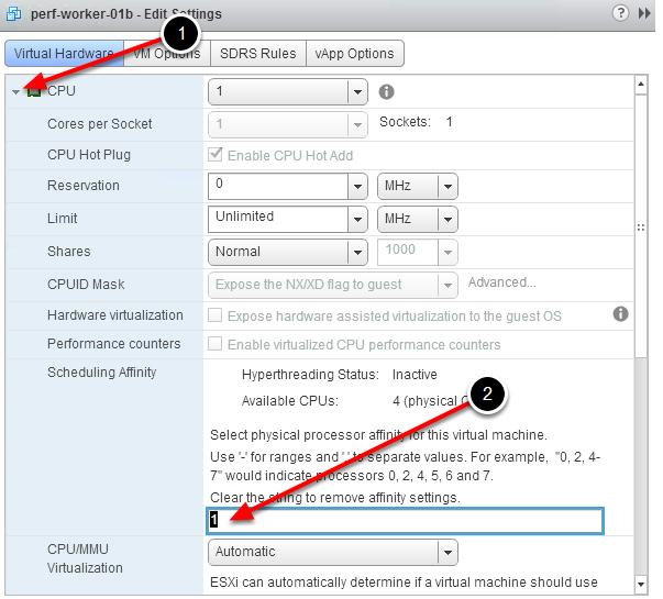 Редактирование параметров CPU